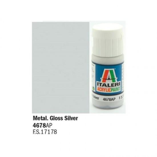 Vopsea acrilica argintiu gloss 20ml.